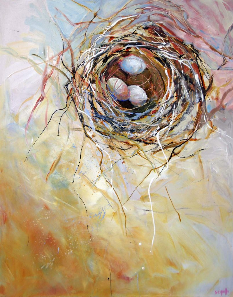 Abstracted painting of a bird nest with three aggs